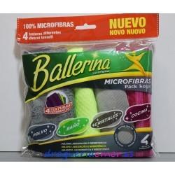 BALLERINA Bayeta Microfibras Pack Hogar 30X32cm (4 unidades)