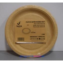 BETIK Platos de Cartón Biodegradables 23cm (6 unidades)