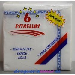 6 ESTRELLAS Servilletas Blancas con cenefa